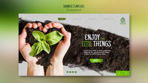 土と植物のバナーテンプレート Premium Psd
