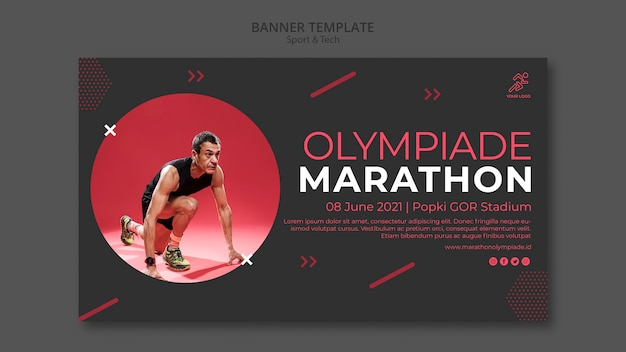 Banner template withsport and tech concept Free Psd