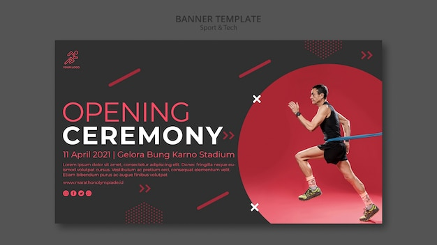 Banner template withsport and tech design Free Psd