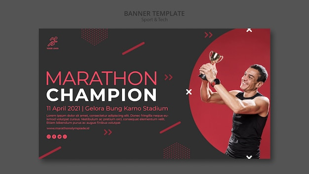 Banner template withsport and tech Free Psd