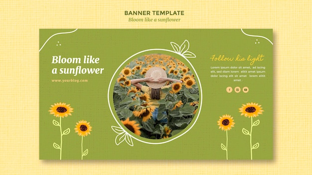 Banner template with sunflowers and woman Free Psd