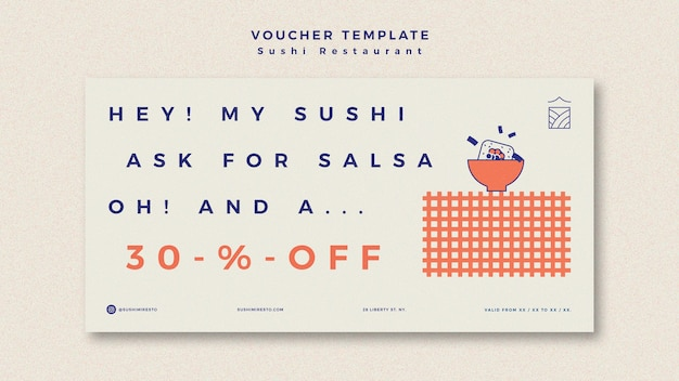 Banner template with sushi restaurant Free Psd