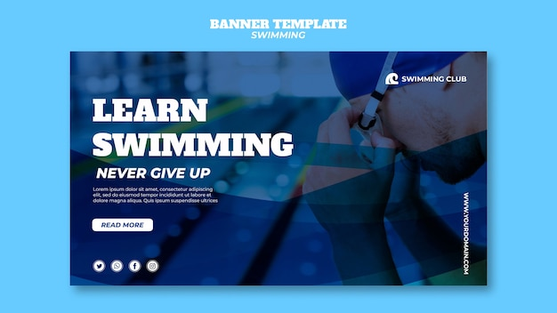 Banner template with swimming concept Free Psd