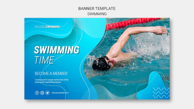 Banner template with swimming Free Psd
