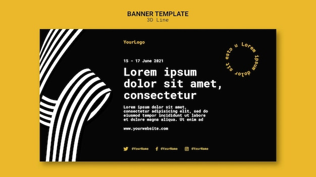 Banner template with three-dimensional lines Free Psd