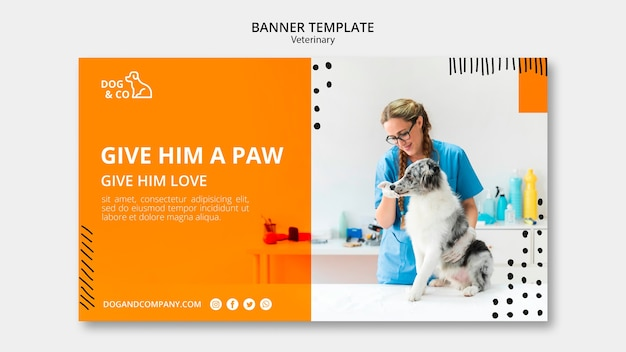 Banner template with veterinary concept Free Psd