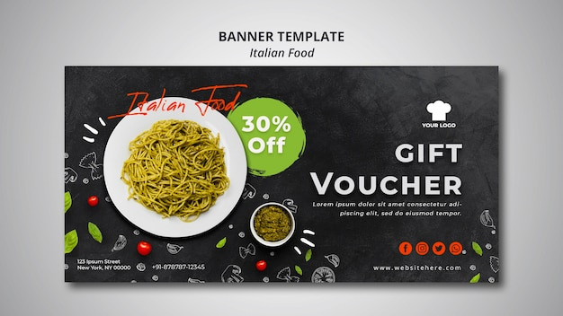 Banner template with voucher for traditional italian food restaurant Free Psd
