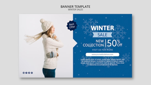 Banner template with winter sales Free Psd