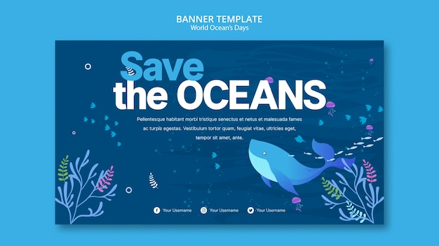 Banner template with world ocean day concept Free Psd