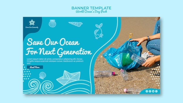 Banner template with world ocean day Free Psd