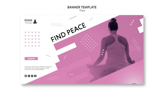 Banner template with yoga design Free Psd