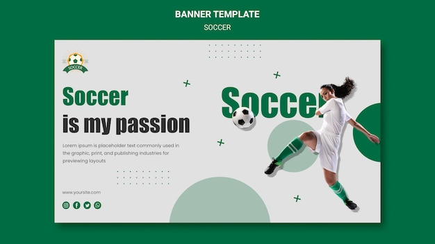 Banner template for women's football league Free Psd