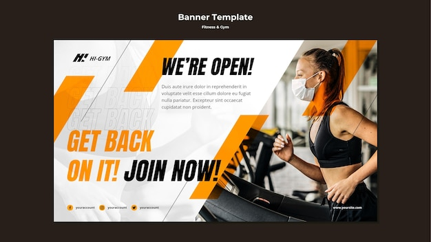 Banner template for working out at the gym during the pandemic Free Psd