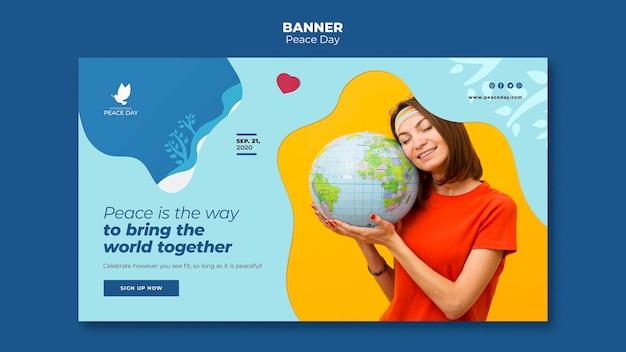 Modello di banner per la giornata mondiale della pace Psd Gratuite