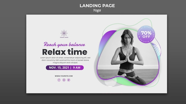 Banner template for yoga lessons Free Psd