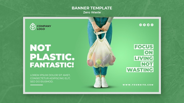 Banner template for zero waste Free Psd