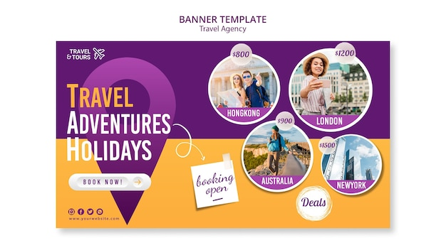 Banner travel agency ad template Free Psd