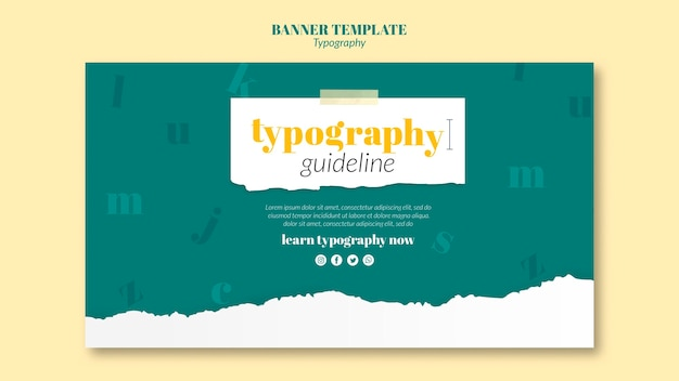 Banner typography service template Free Psd