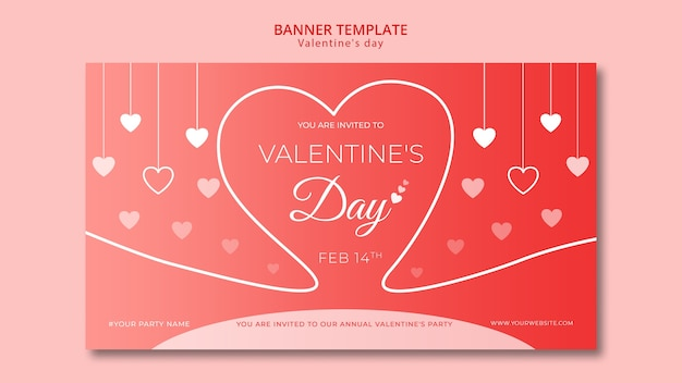 Banner for valentines day template Free Psd