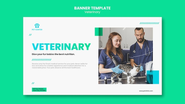 Banner veterinary ad template Free Psd