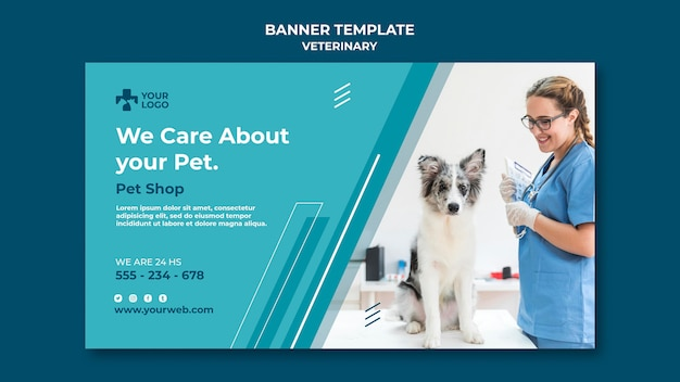 Banner veterinary clinic template Free Psd