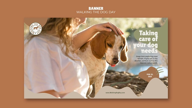 Banner walking the dog day ad template Free Psd
