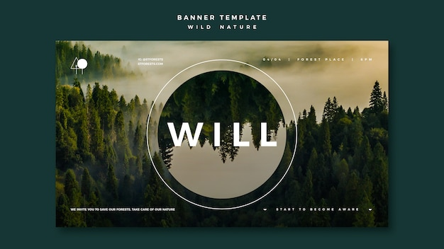 Banner for wild nature with forest Free Psd