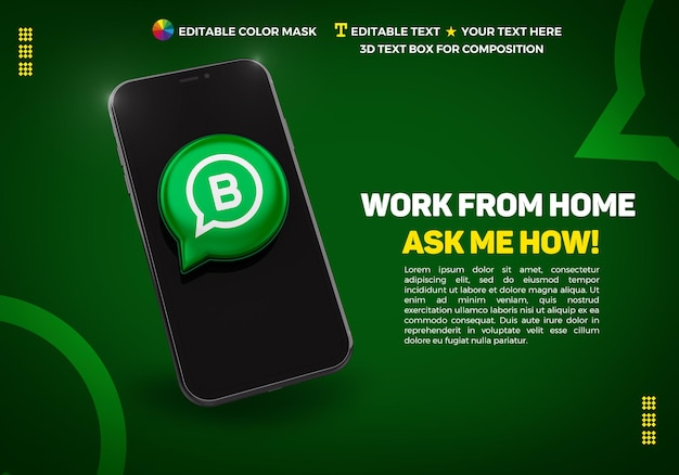 Banner with cellphone and 3d icon whatsapp bussines Premium Psd