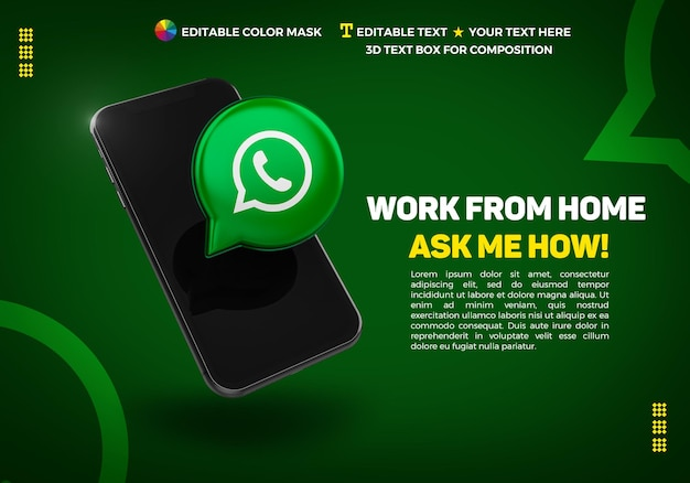 Banner with cellphone and 3d icon whatsapp Premium Psd