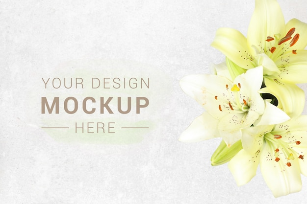 Banner with flowers on granite background Premium Psd
