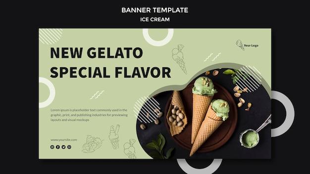 Баннер с дизайном мороженого Бесплатные Psd