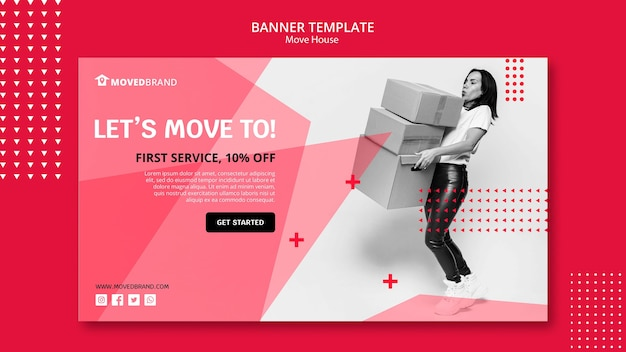 Banner with move house theme Free Psd
