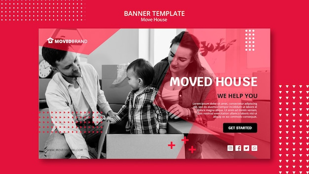 Banner with move house Free Psd