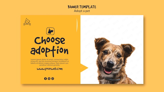 Banner With Pet Adoption Free Psd File