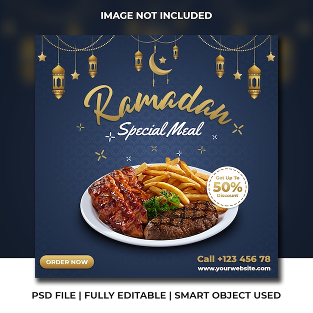 Барбекю ресторан быстрого питания рамадан темно-синий шаблон instagram Premium Psd