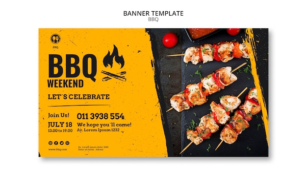 Barbecue party banner template Free Psd