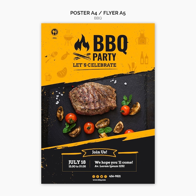 Barbecue party poster template Premium Psd