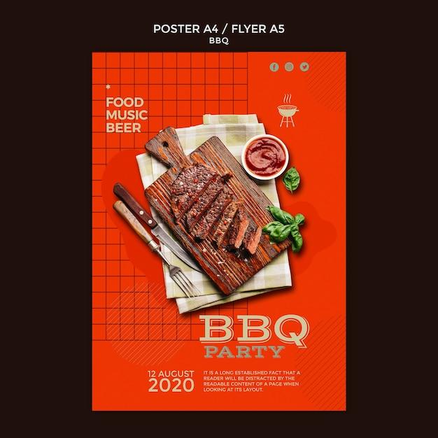 Шаблон плаката для барбекю Бесплатные Psd