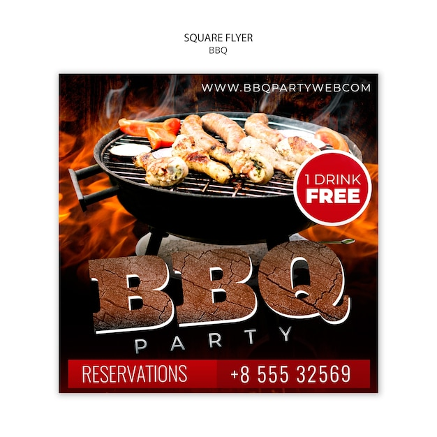Barbecue party square flyer template Free Psd