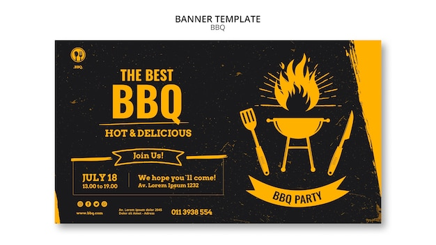 Barbecue party template banner Free Psd