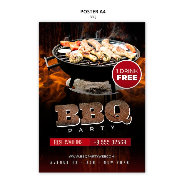 Barbecue poster a4 template Free Psd