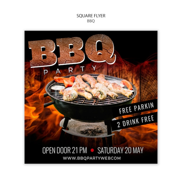 Barbecue square flyer template Free Psd