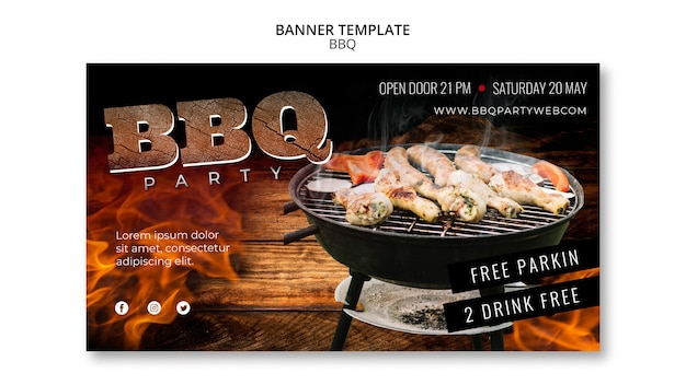 Barbecue template party banner Free Psd