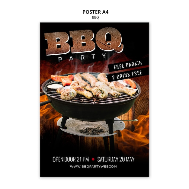 Barbecue template poster a4 Free Psd