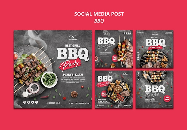 Barbeque social media post template Free Psd
