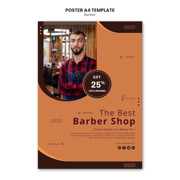 Шаблон рекламного плаката парикмахерской Бесплатные Psd