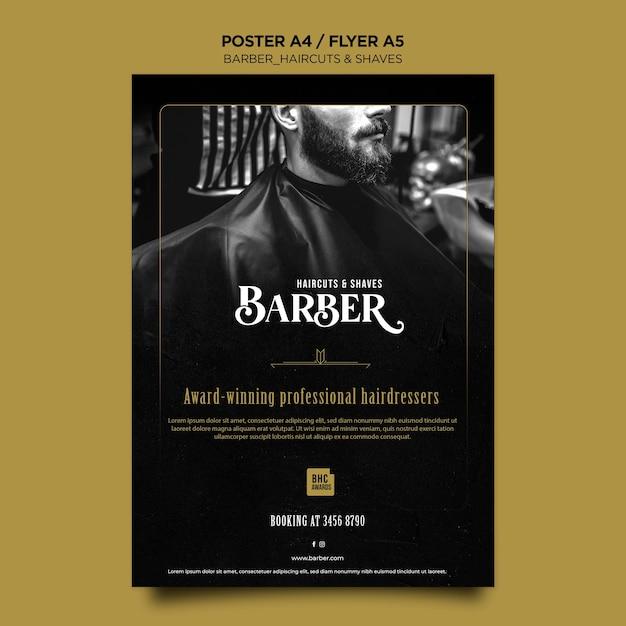 Modello di poster pubblicitario del negozio di barbiere Psd Gratuite