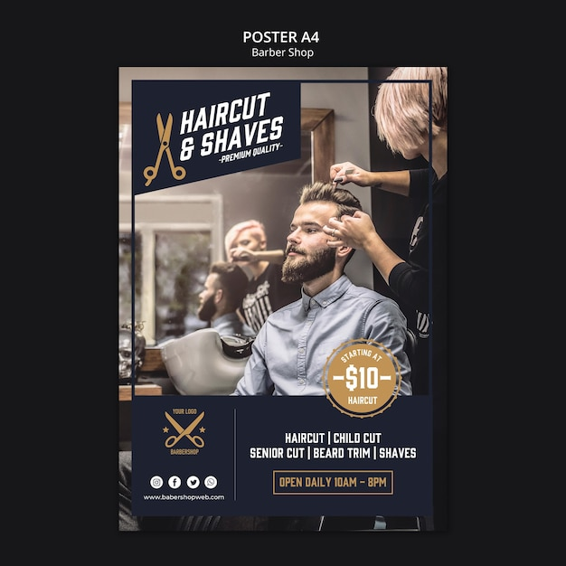 Barber shop poster template Premium Psd