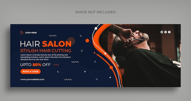 Barber shop social media web banner flyer and facebook cover photo design template Premium Psd
