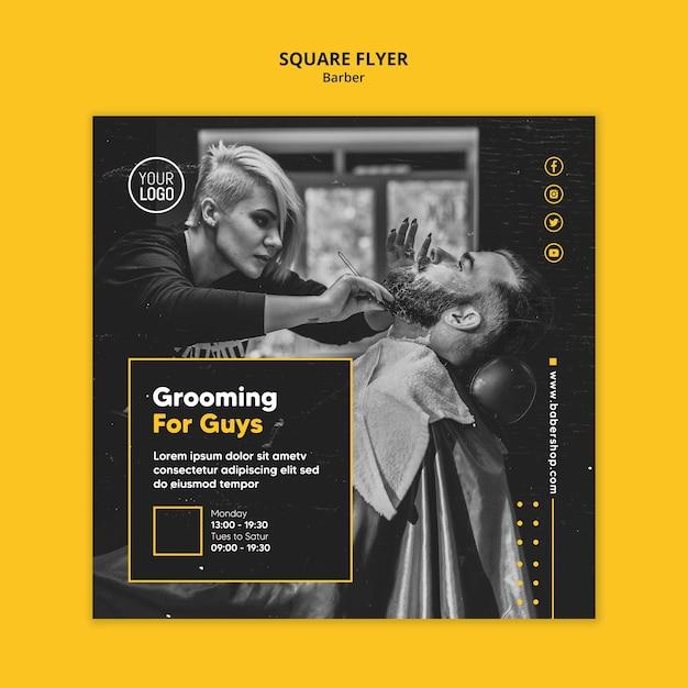 Шаблон квадратного флаера парикмахерской Бесплатные Psd